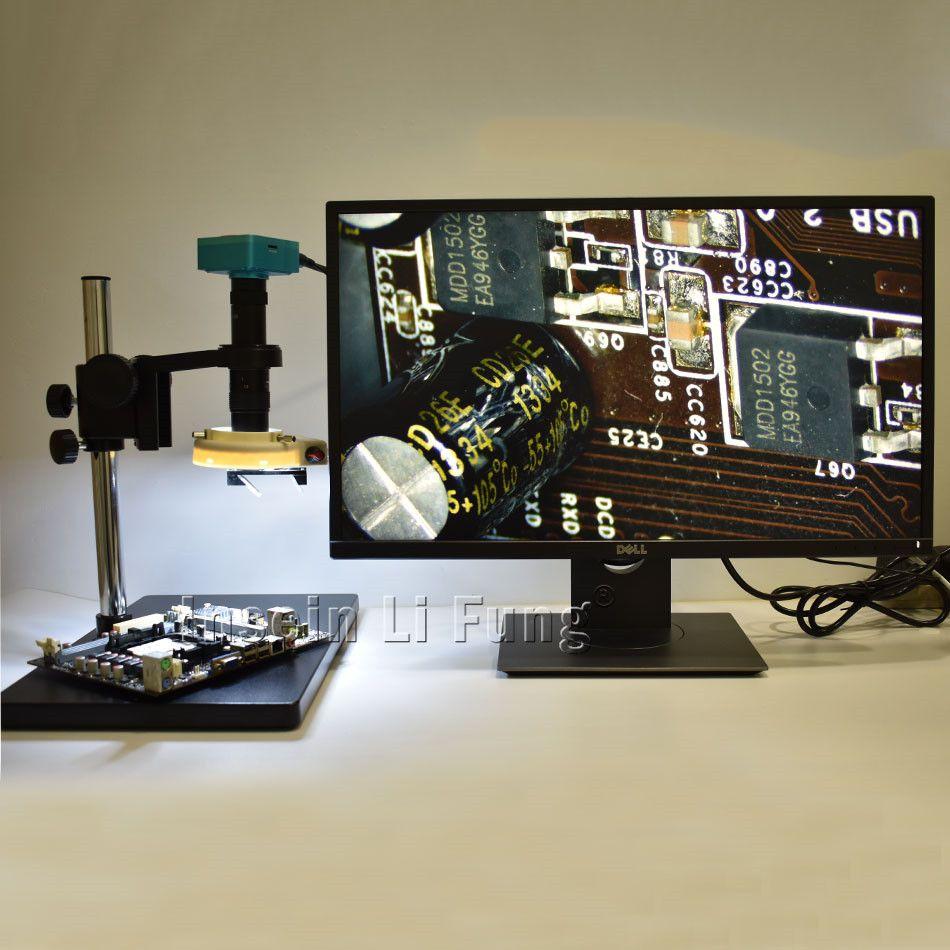 28MP HDMI HD Mikroskop Kamera + 3D Seite Gesicht Einstellbar Große Sichtfeld 10X-180X Vergrößerung Zoom C-mount objektiv + LED + Halterung