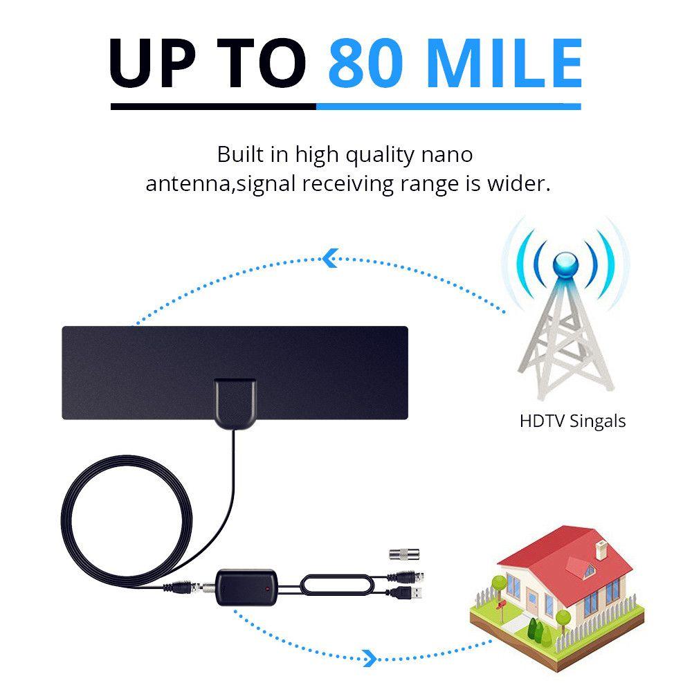 AH-LINK 1080 P Intérieure Antenne TV Numérique HDTV Antenne Amplified Booster 80 Mile Gamme 4 K HD VHF Tnt Locale Canal TV aérienne