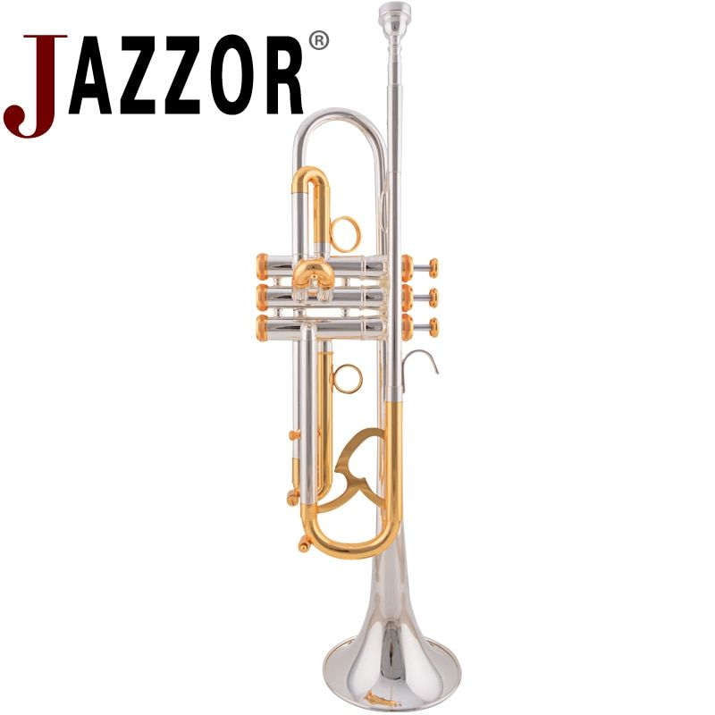 JAZZOR JZTR-800 professionelle trompete B flache Gold & Silber trompete Messing blasinstrumente mit fall und mundstück