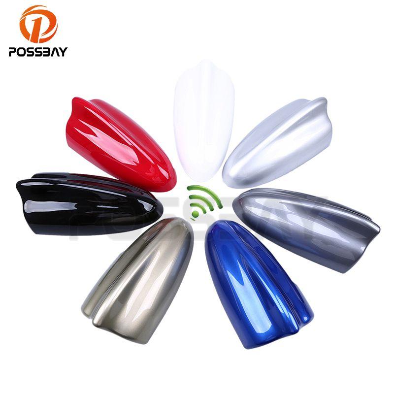 POSSBAY AM Aerials Black/White/Silver/Blue/Red/Gray/Gold Shark Fin Antenna FM Signal Amplifier Car Roof Decoration Universal