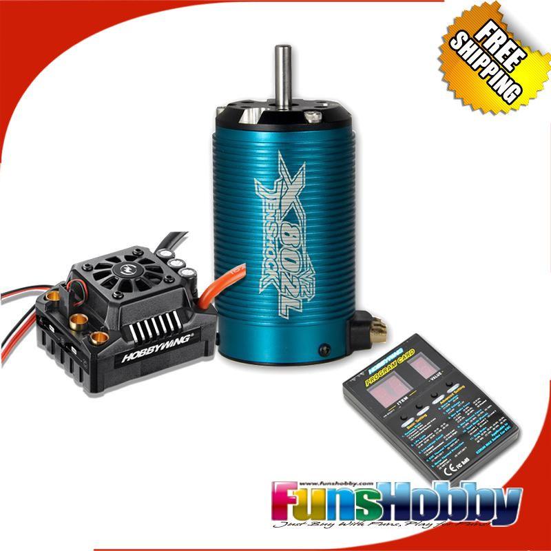 Tenshock X802LV2 6 Pole Micro Brushless DC Motor &Hobbywing EZRUN Max8 V3 150A ESC Waterproof Speed ControllerCod.X802lV2+Max8