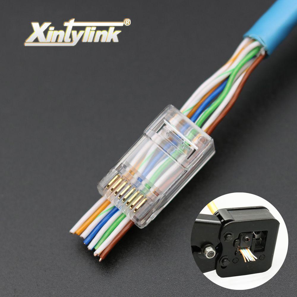 Xintylink 50 pcs EZ rj45 connecteur rj45 plug cat6 réseau connecteur 8P8C plaqué or blindé modulaire utp terminaux ont trou