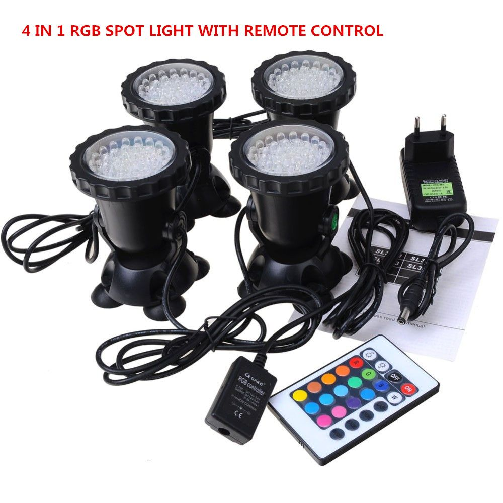 4 in 1 36LED RGB Underwater Lamp Spot Light for Water Garden Fish Tank Pond Fountain Aquarium led lighting with Remote Control