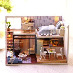 Mylb 3D DIY Kayu Buatan Tangan Kotak Teater Rumah Boneka Miniatur Box Cute Merakit Kit Mini Rumah Boneka Mainan Hadiah
