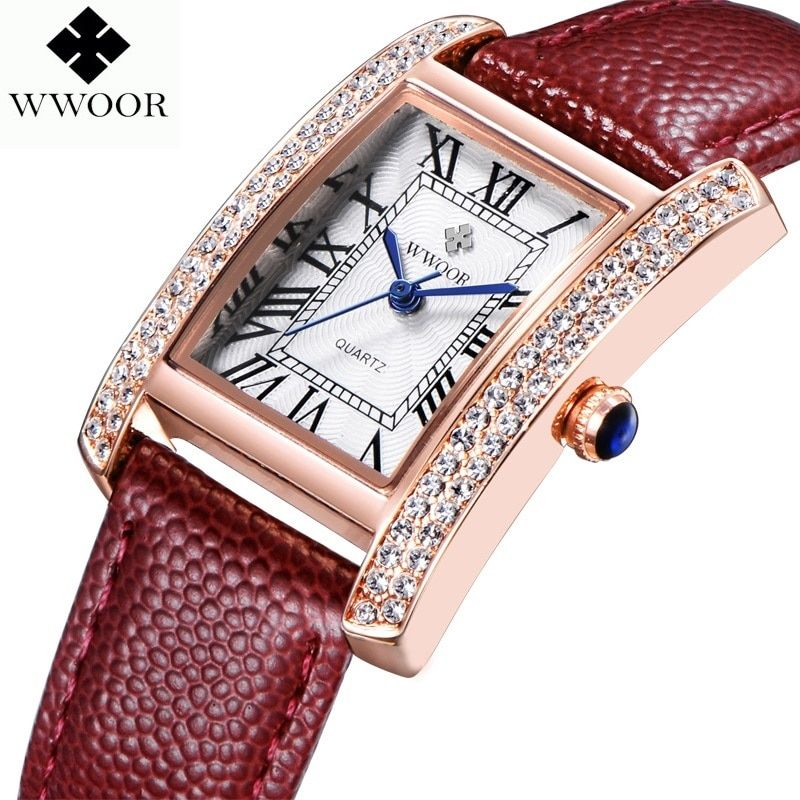 WWOOR 2016 nouvelle marque de mode femmes montres Quartz montre diamants robe dames décontracté cristal sport montre-bracelet en cuir bracelet rouge