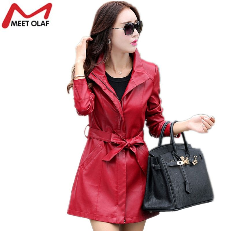 Women Fashion Long Faux Leather Jacket Soft PU Leather Trench Coat With Sash Female Spring Autumn Long Sleeve Outwear 4XL YL662