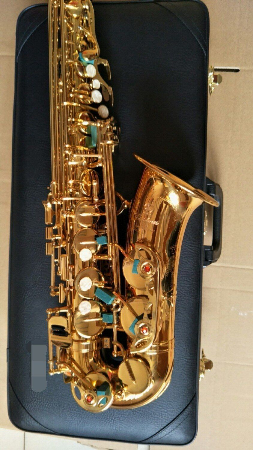 Gold Lacquer Alto Saxophone YAS-875EX E Flat Sax Brass Instruments with original case gloves, mouthpiece,reed