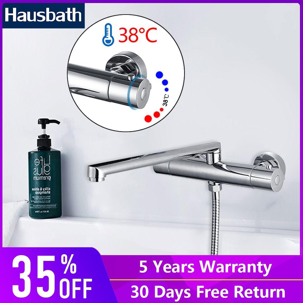 Thermostat Wasserhahn Mischbatterie Chrome Finishing Lange Auslauf Badezimmer Nutzung Temperatur Control Keramik Disc Heißer Und Kalten Wasser