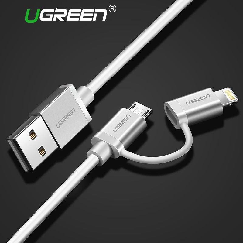 Ugreen 2 in 1 Lightning to Micro USB Cable 2.4A Charging Cable for iPhone 8 iPad Metal Fast Charger Data Cable for Samsung HTC