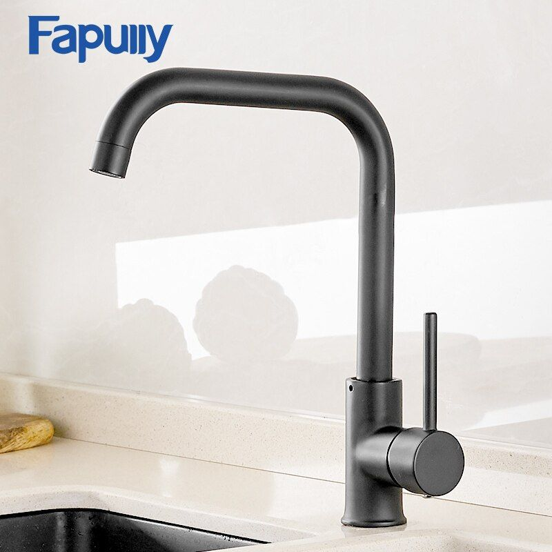Fapully robinet de cuisine 360 rotation noir mélangeur robinet pour cuisine en caoutchouc conception chaude et froide pont monté grue pour éviers AEF0012