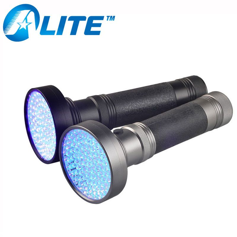 395nM Powerful 100 UV LED Flashlight Strongest Ultraviolet Torch Light with Black or Gray