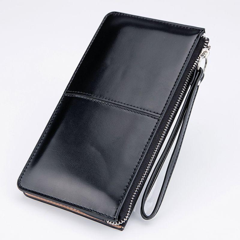 Для женщин известные бренды масла Воск кожа молния клатч кошелек женский кошелек леди многофункциональный телефон сумка
