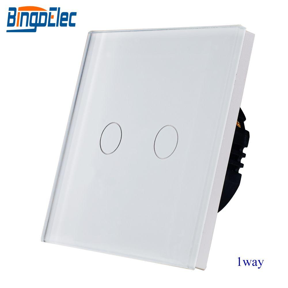 EU/UK standard AC110-250V white glass panel 2gang 1way touch sensor light switch