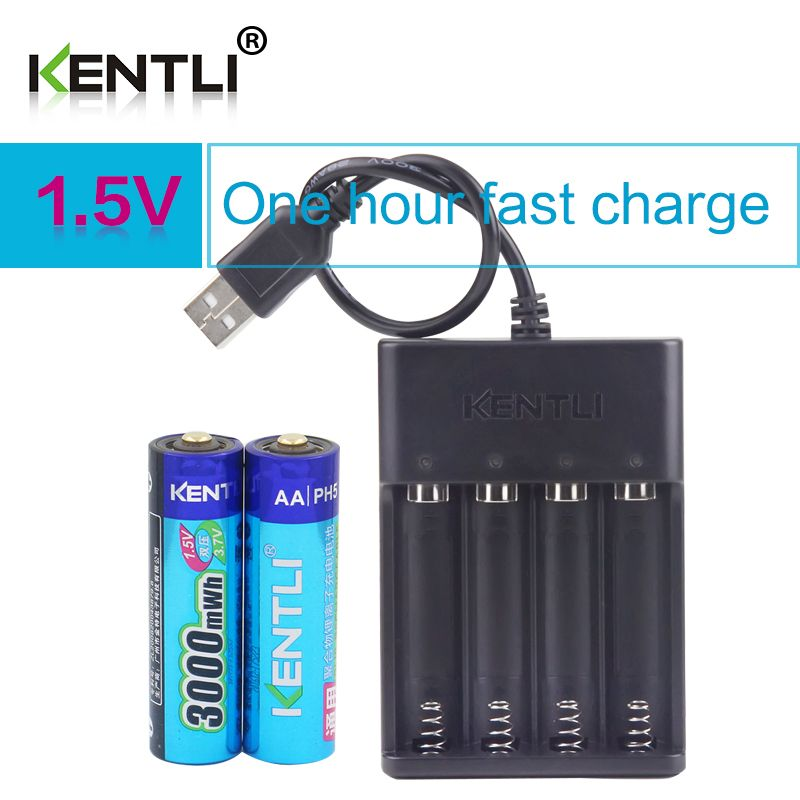 KENTLI 2 stücke AA 1,5 V 3000mWh lithium li-ion wiederaufladbare batterien batterie + 4 slots polymer li-ion ladegerät
