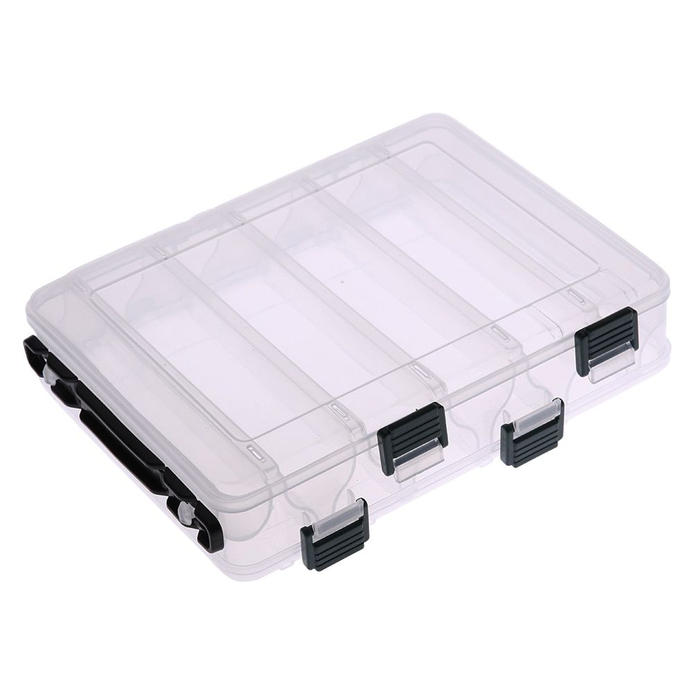 Double Sided Ten Compartment Transparent Box Wooden Shrimp Box Fishing Bait Box Plastic Fishing Lure Tool Tackle Boxes New