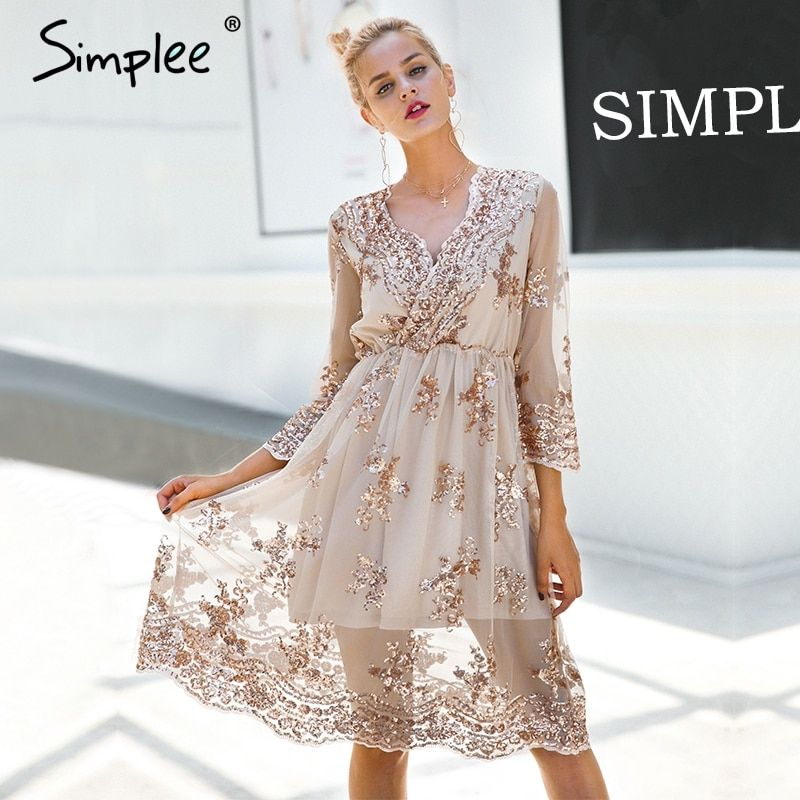 Simplee V neck long sleeve sequin party dresses women Sexy mesh streetwear christmas midi dress female 2017 autumn dress vestido