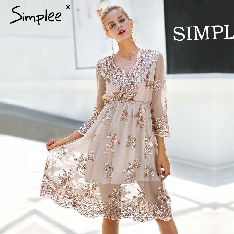Simplee V neck long sleeve sequin party dresses women Sexy <font><b>mesh</b></font> streetwear christmas midi dress female 2017 autumn dress vestido