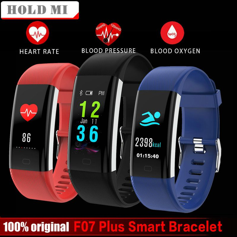 Hold Mi F07 Plus Smart Band Color Screen IP68 Waterproof Heart Rate Fitness Bracelet Blood Pressure Oxygen Monitor Smartband