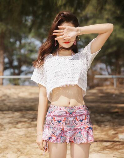 2018 80 23 color summer newest color handmade crochet bikini bandeau bow halter swimwear women Floral bottom swimsuit hot