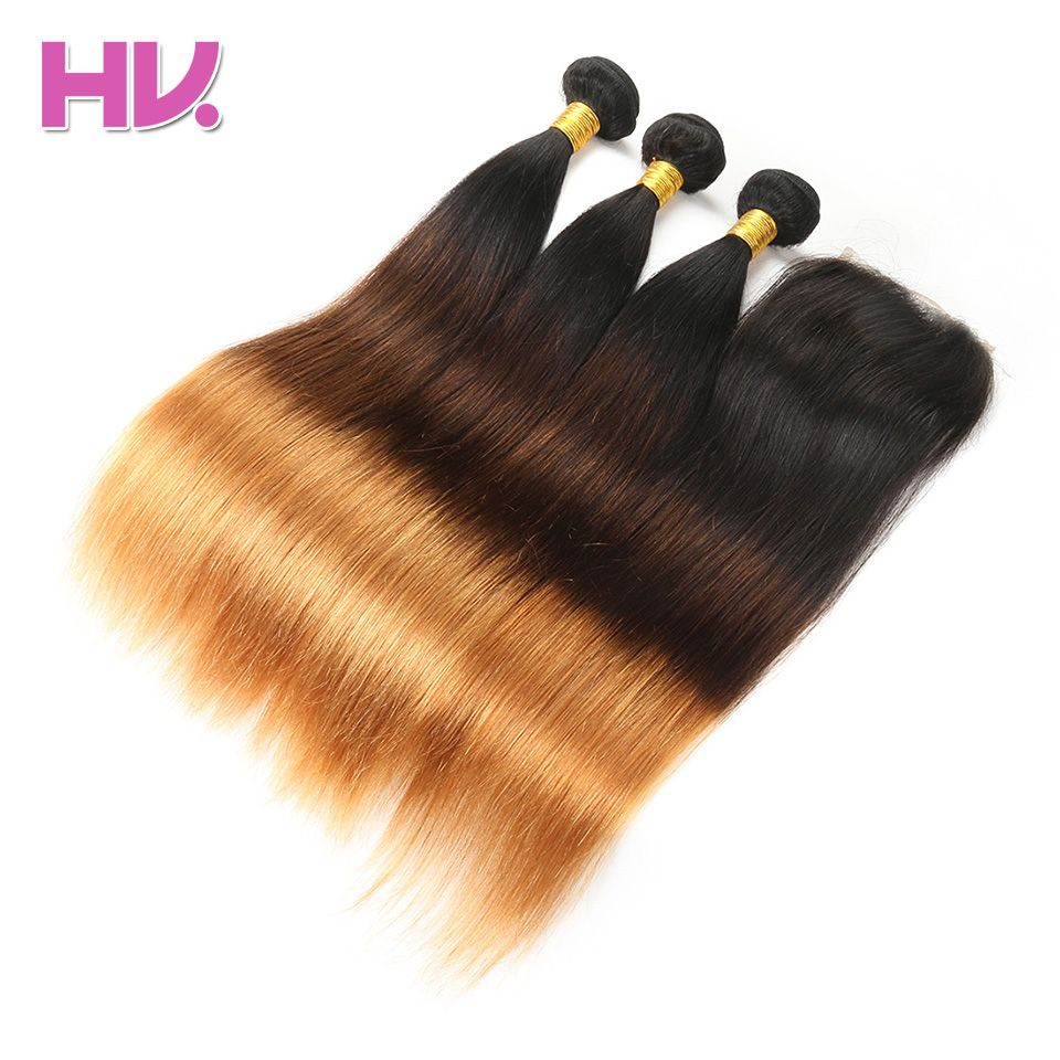 Hair Villa Pre-Colored Malaysian Straight Ombre Hair With Lace Closure #1b/4/30 Non-Remy Human Hair Bundles 4*4 Lace Closure