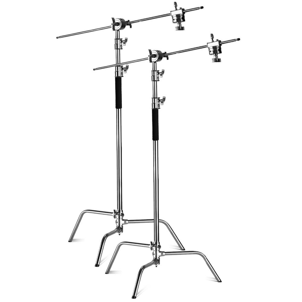 Neewer 2 Pieces Heavy Duty Max Height 10 feet/3m Adjustable Light Stand with 4 feetHolding Arm and Grip Head Kit for Studio