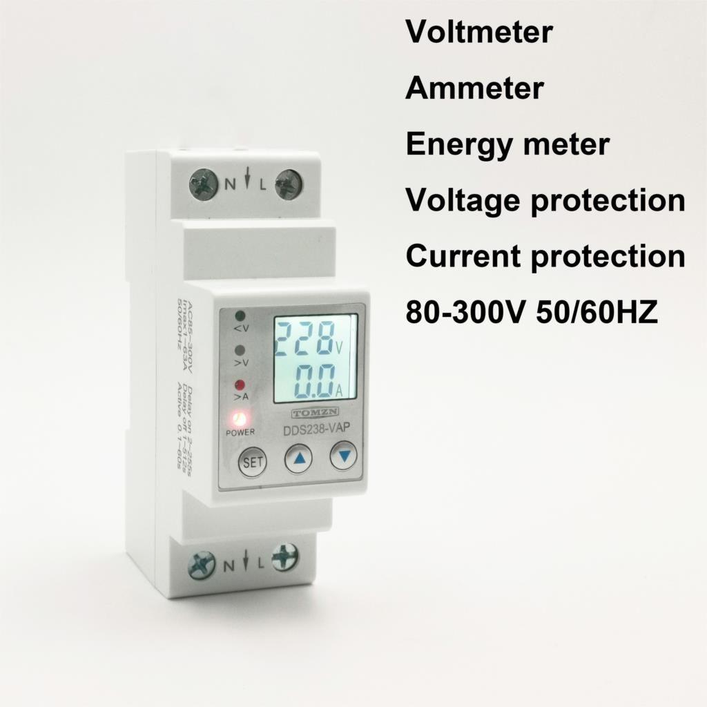 63A 80A 110V 230V rail Din réglable sur sous tension dispositif de protection protecteur limite de courant voltmètre de protection Kwh