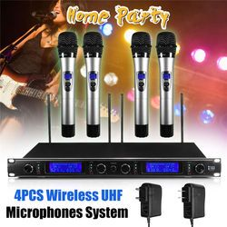 New 4psc Wireless Microphones with LED Display All-metal Body KTV Microphone Professional System KTV Player Home Party
