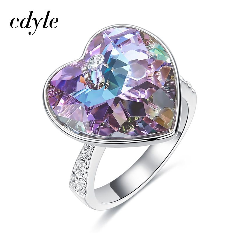 Cdyle Crystals From Swarovski Heart Wedding Rings Women Party Jewelry Luxury Romantic For Women Best Gift Fashion Ring 2018