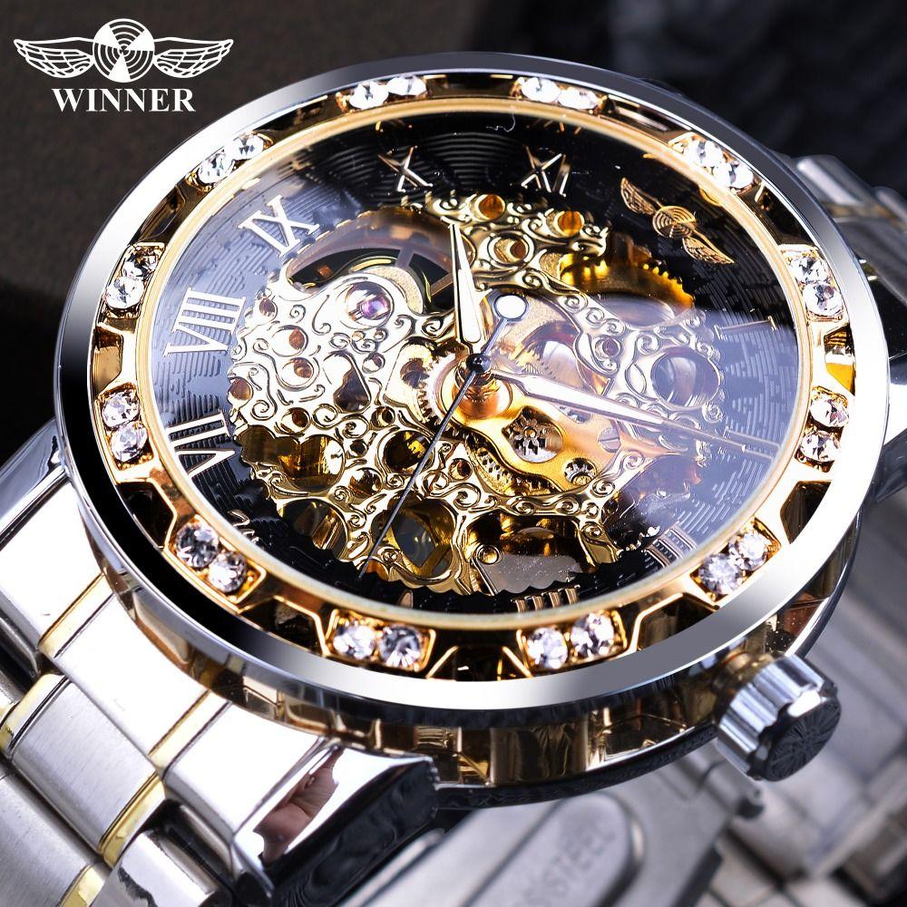 Winner Transparent Fashion Diamond Display Luminous Hands Gear Movement Retro Royal Design Men Mechanical Skeleton Wrist Watches