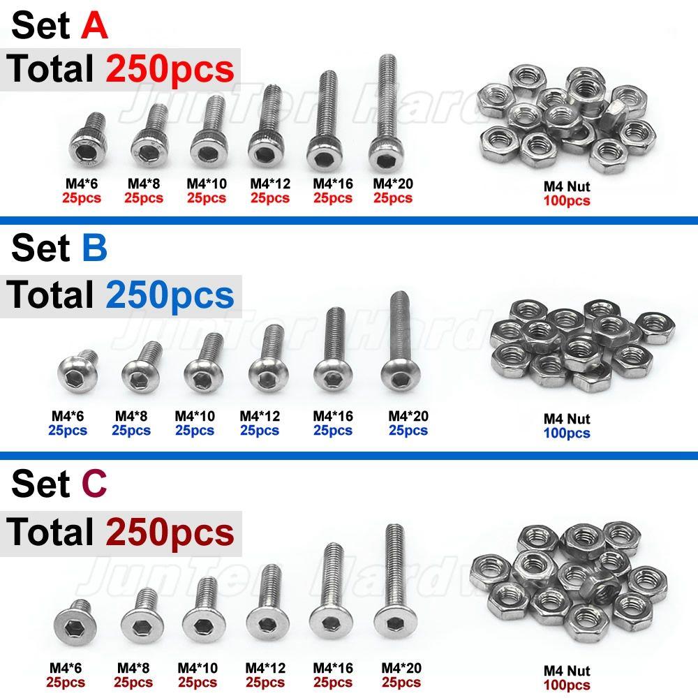250 pièces M4 (4mm) A2 boulons Allen en acier inoxydable bouton hexagonal vis à tête plate à six pans creux avec assortiment d'écrous