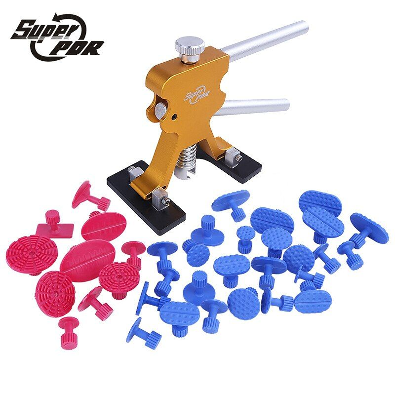 Super PDR Tools Paintless Dent Repair Tools Dent Removal PDR Tool Kit Dent Puller Tabs Hand Tool Set 25 blue 10 red glue tabs