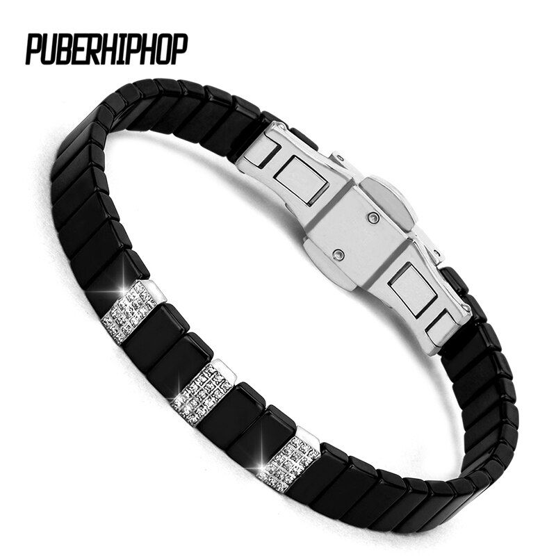 2017 New Brand Orchid Buckle Bracelets & Bangles Stainless Steel Bracelets Healthy Ceramic Chain Fashion Wristband For Unisex