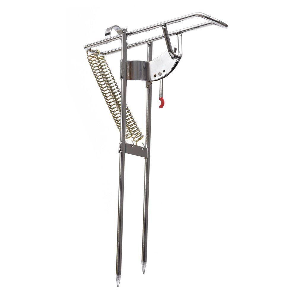 Double support automatique de support de canne à pêche d'angle de ressort support de pêche en acier antirouille accessoire de pèche de bâti de poteau