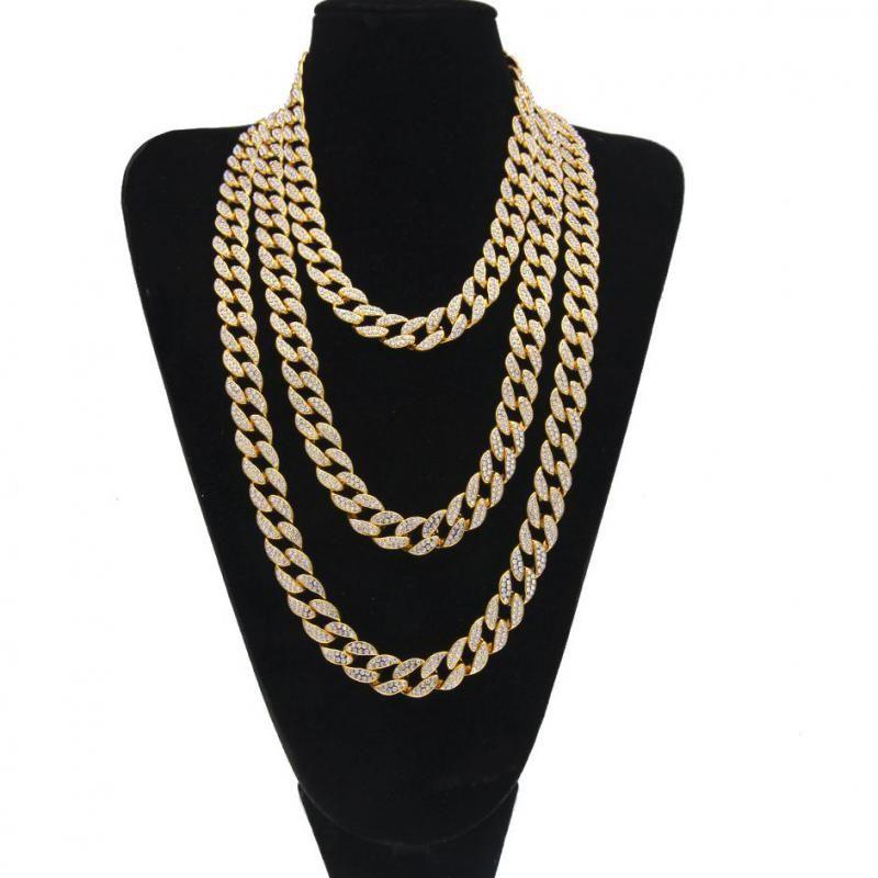Glacé Bling strass doré argent finition Miami cubain lien chaîne collier hommes Hip Hop collier bijoux 16/18/20/24 Inch