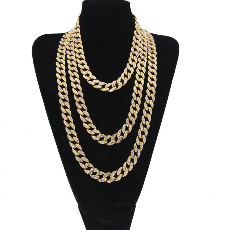 Iced Out Bling Rhinestone Golden Silver Finish Miami Cuban Link Chain Necklace Men's Hip Hop Necklace Jewelry 16/18/20/24 Inch
