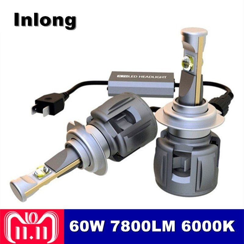 Inlong 2Pcs X70 H4 H7 Car LED Headlight Bulbs H11 H8 H1 9005 9006 HB4 H9 D4S XHP70 Chips 120W 15600LM Headlamp Fog Lights 6000K