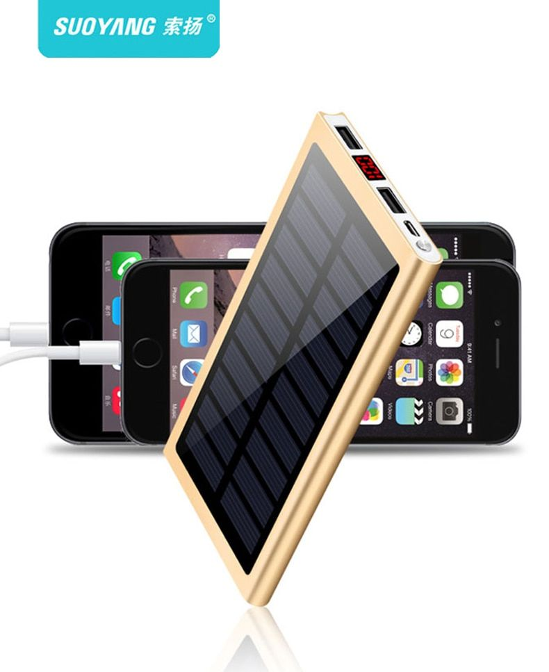 Hot Solar 20000mah Power Bank External Battery 2 USB LED Powerbank Portable Mobile phone Solar Charger for Xiaomi iphone X 8plus