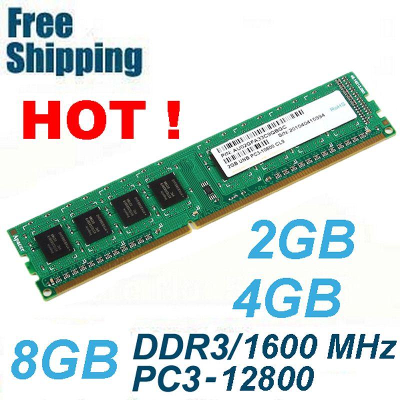 DDR3 1600/PC3 12800 2 GB 4 GB 8 GB De Mémoire RAM De Bureau compatible avec DDR 3 1600 1333 1066 MHz PC3-12800 10600 Vie garantie