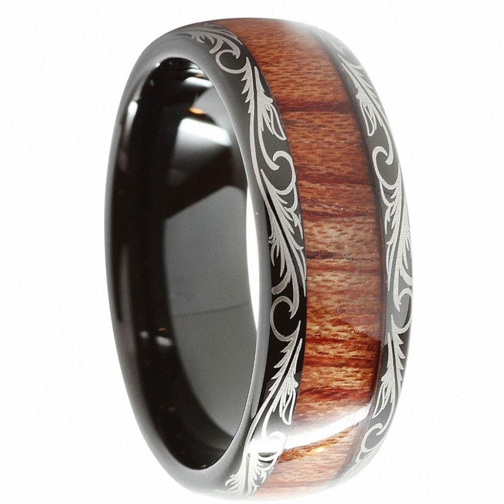 Unisexe 8mm noir carbure de tungstène anneau Koa bois incrustation dôme confort Fit mariage bande promesse anneaux pour Couples