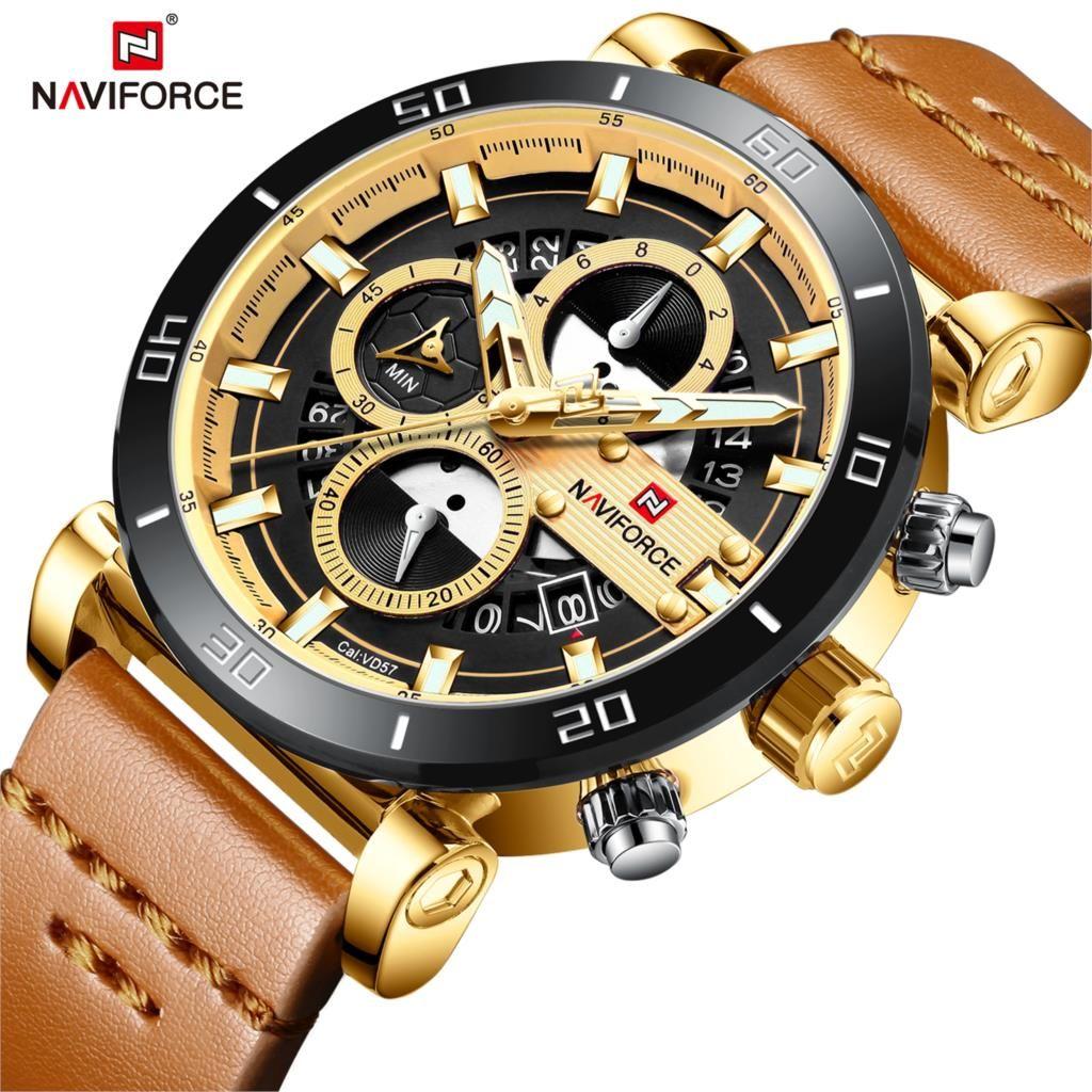 NAVIFORCE Marke Neue Mode Männer Uhr Analog Leder Sport Uhren männer Armee Militärischen Mann Quarz Uhr Relogio Masculino 2019