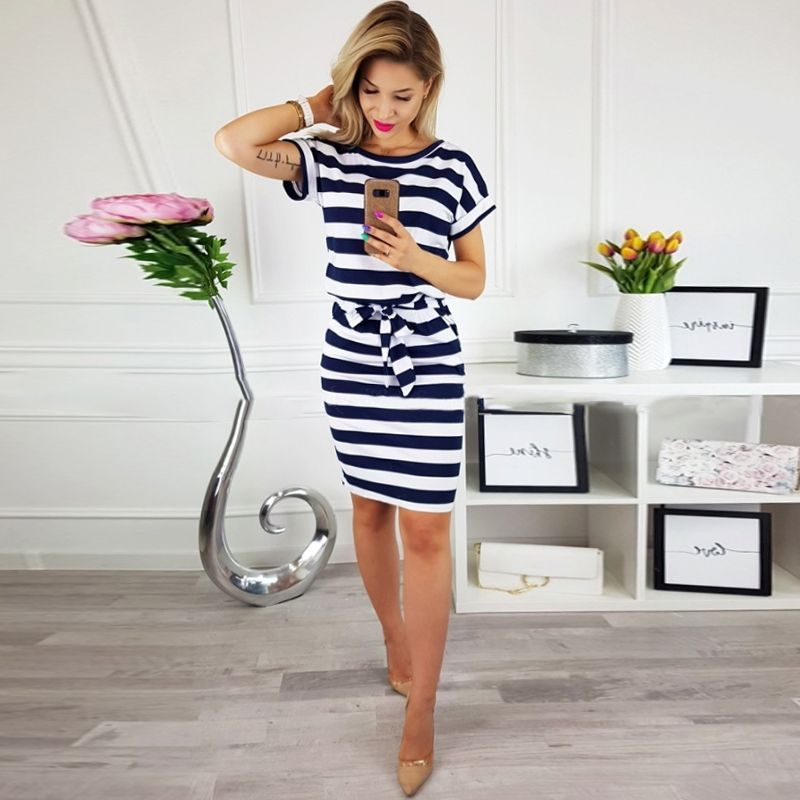 DeRuiLaDy 2018 New Women Office Kobs Summer Dress Sexy O Neck Short Sleeve Belt Bodycon Striped Dresses Casual Vestidos Sundress