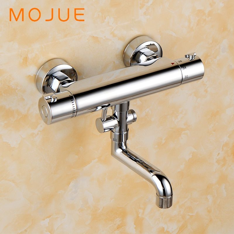 MOJUE Thermostatic Mixer shower Chrome Design bathroom tub mixer sink Faucet wall-mounted brassThermostat Faucet MJ8246