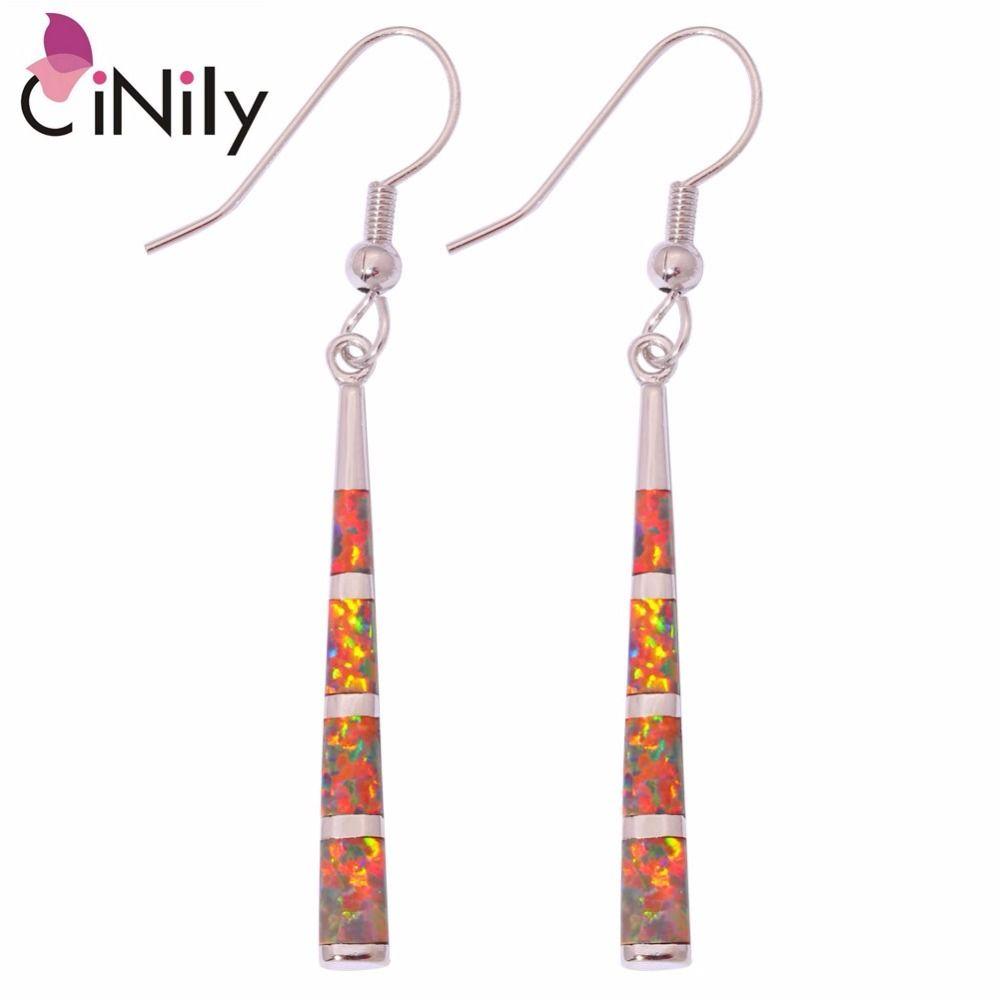 Boucles d'oreilles longues en pierre opale de feu Orange CiNily plaqué argent élégant ligne boucle d'oreille Vintage mode été bijoux femmes filles