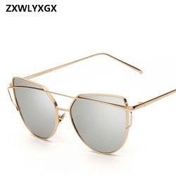 2018 Sunglasses Women Luxury Cat eye Brand Design Mirror  Rose New Gold Vintage Cateye Fashion sun glasses lady Eyewear