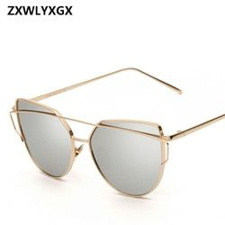 2018 las gafas de sol de ojo de gato diseño de marca espejo Rose nuevo oro Vintage Cateye gafas de sol de la manera Eyewear