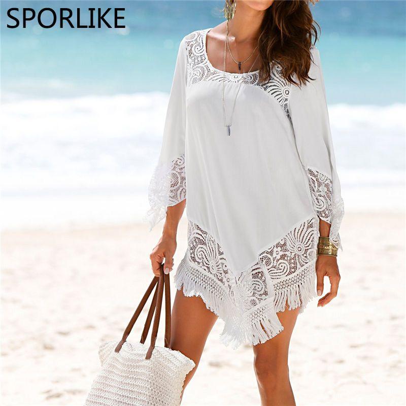 Weiß Spitze Vertuschungen Bademode 2018 Sommer Sexy Bikini Pareo Strand Vertuschungen Beachwear Frauen Kleid Badeanzug Cover up