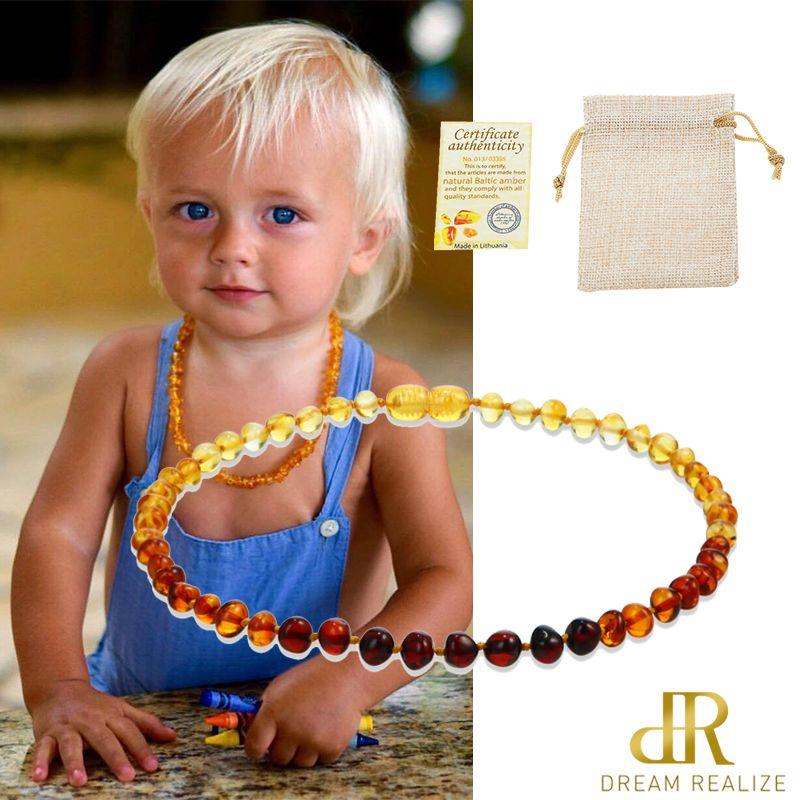 DR classique collier en ambre naturel certificat d'approvisionnement authenticité véritable baltique ambre pierre bébé collier cadeau 10 couleur 14-33cm