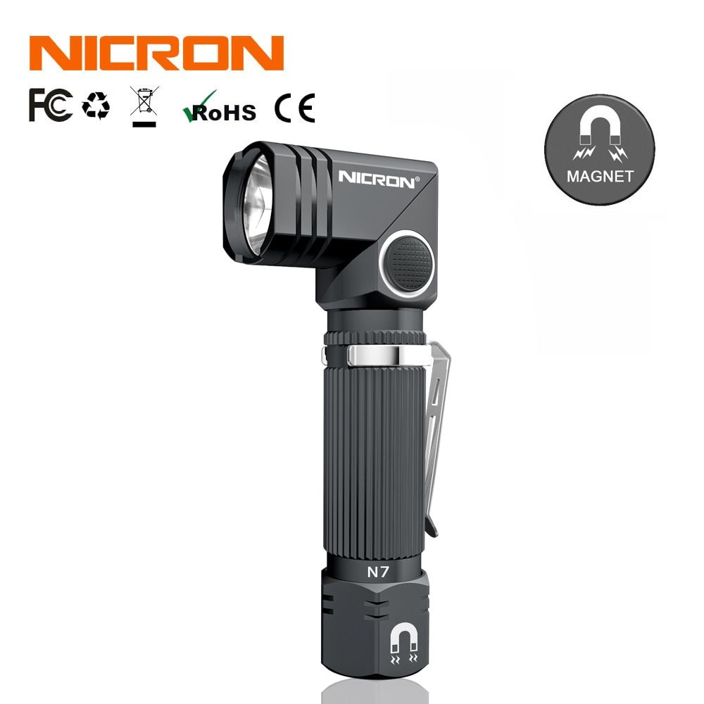 NICRON Dual Kraftstoff 90 Grad Twist Mini Ecke LED Taschenlampe Mit Magnet Unten Wasserdichte IP65 Für Outdoor Wartung Verwenden N7