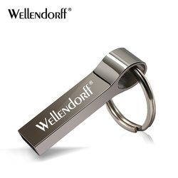 Metal usb flash drive 16GB 32GB USB 2.0 pendriver  memory stick pen drive 4GB 8GB real capacity 64GB flash disk with key ring