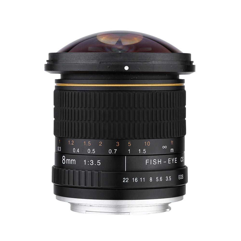 Lightdow 8mm F/3.5 Asphérique Circulaire Camera Lens Ultra Large Fisheye pour Canon DSLR 550D 650D 750D 77D 80D 1100D Caméras